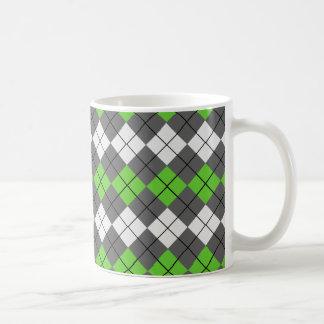 Gray White and Green Argyle Mug