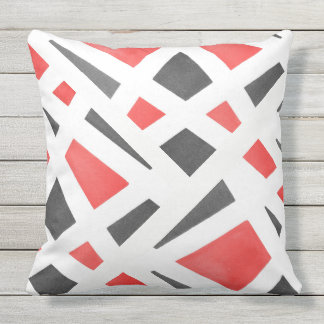 Gray White and Red Geometric Watercolor Cushion