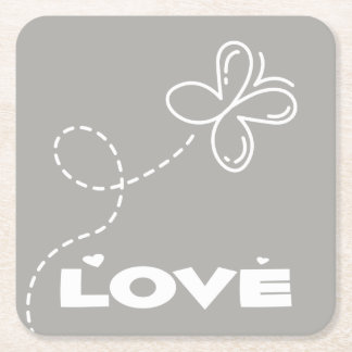Gray & White Butterfly and Hearts Love Wedding Square Paper Coaster