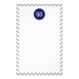 Gray White Chevron 7P, Navy Vine Script Monogram Personalized Stationery