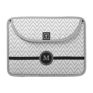 Gray white chevron monogram macbook pro sleeve