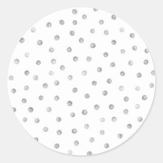 Gray White Confetti Dots Pattern Classic Round Sticker