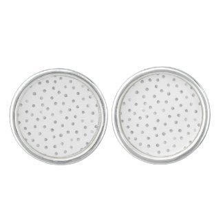 Gray White Confetti Dots Pattern Cuff Links