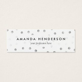 Gray White Confetti Dots Pattern Mini Business Card