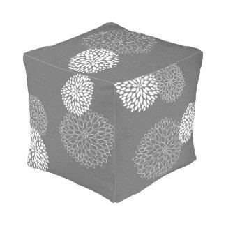 Gray White Dahlia Floral neutral decor pouf 2