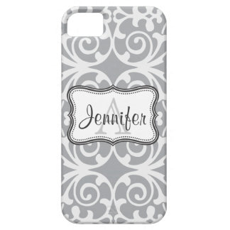 Gray & White Damask Monogram iPhone 5 iPhone 5 Cover