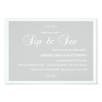 Gray & White Damask Sip And See Invitation