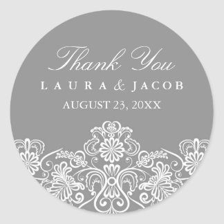 Gray & White Floral Lace Wedding Stickers