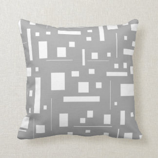 Gray White Geometric Abstract Pattern Futuristic Cushion