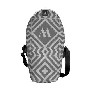 Gray White Geometric Monogram Mini Messenger Courier Bag