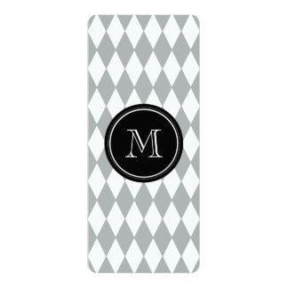 Gray White Harlequin Pattern, Black Monogram 10 Cm X 24 Cm Invitation Card