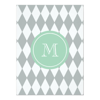 "Gray White Harlequin Pattern, Mint Green Monogram 6.5"" X 8.75"" Invitation Card"