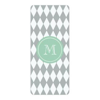 Gray White Harlequin Pattern, Mint Green Monogram 10 Cm X 24 Cm Invitation Card