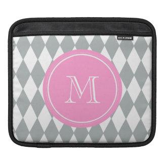 Gray White Harlequin Pattern, Pink Monogram iPad Sleeve