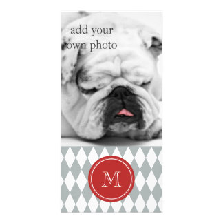 Gray White Harlequin Pattern, Red Monogram Photo Card Template