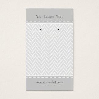 Gray White Herringbone Earring Cards
