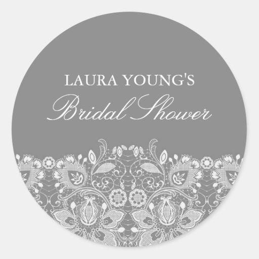 Gray & White Lace | Bridal Shower Sticker