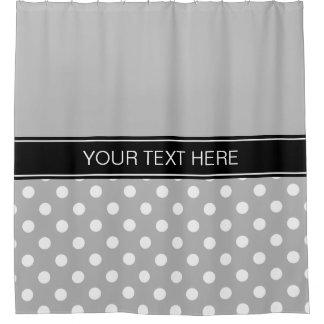 Gray White LG Dot Black CB Name Monogram Shower Curtain