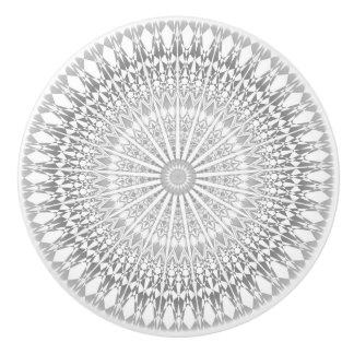 Gray White Mandala Ceramic Knob