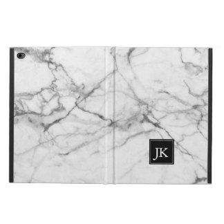 Gray & White Marble Texture Monogram Powis iPad Air 2 Case