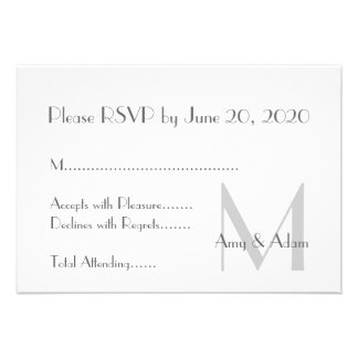 Gray White Modern Monogram Wedding RSVP Personalized Invite