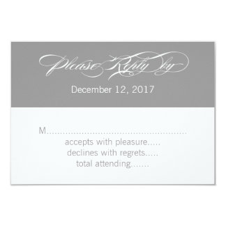 Gray White Modern Wedding RSVP Card