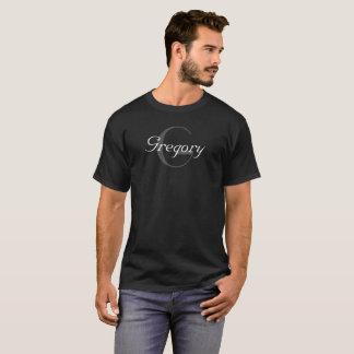 Gray & White Monogram Name & Initial on Black T-Shirt