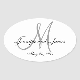 Gray White Monogram Oval Wedding Label