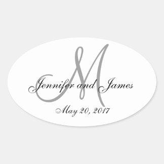 Gray White Monogram Oval Wedding Label Oval Sticker