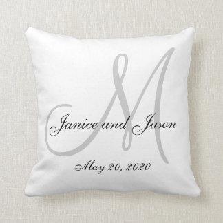 Gray White Monogram Wedding Cushion