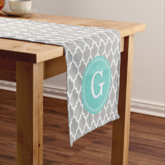 Gray White Moroccan #4Sm Aqua Rnd Monogram Short Table Runner