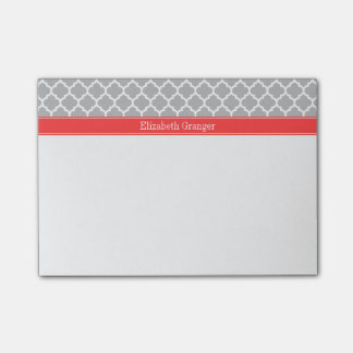 Gray White Moroccan #5 Coral Red Name Monogram Post-it® Notes