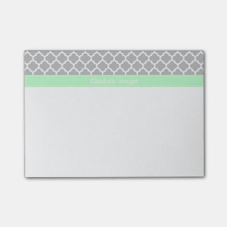Gray White Moroccan #5 Mint Name Monogram Post-it® Notes
