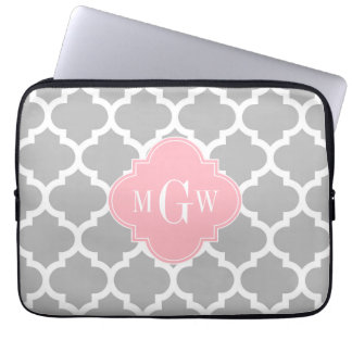 Gray White Moroccan #5 Pink 3 Initial Monogram Laptop Computer Sleeve