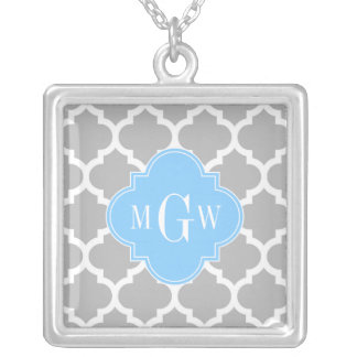 Gray White Moroccan #5 Sky Blue 3 Initial Monogram Square Pendant Necklace