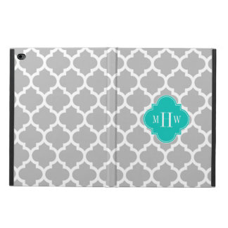 Gray White Moroccan #5 Teal 3 Initial Monogram Powis iPad Air 2 Case