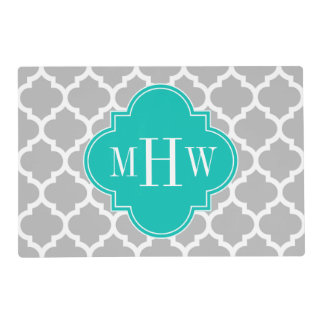 Gray White Moroccan #5 Teal 3 Initial Monogram Laminated Placemat