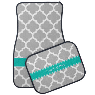 Gray White Moroccan #5 Teal Name Monogram Floor Mat