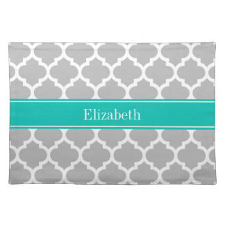 Gray White Moroccan #5 Teal Name Monogram Place Mats