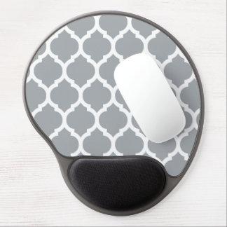 Gray White Moroccan Quatrefoil Pattern Gel Mouse Pad