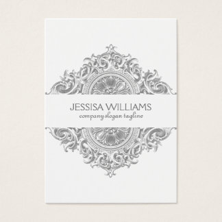 Gray & White Ornate Floral Ornament Design Business Card