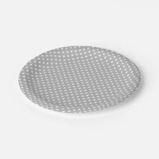 Gray White Polka Dots Pattern 7 Inch Paper Plate