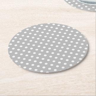 Gray White Polka Dots Pattern Round Paper Coaster