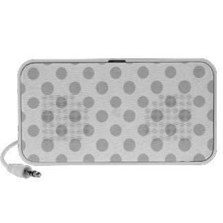 Gray White Polka Dots Pattern Portable Speakers