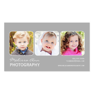 Gray White Portrait Photographer Business Card