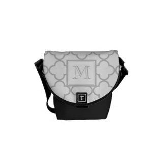 Gray White Quatrefoil Your Monogram Messenger Bag