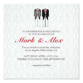 Gray White & Red Same-Sex Couples Wedding Invite