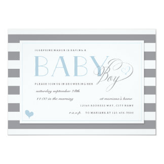 Gray & White Stripe Baby Boy Shower Blue Accents 13 Cm X 18 Cm Invitation Card
