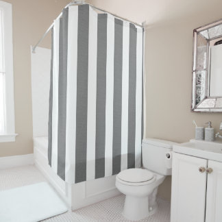 Gray & White Striped Custom Shower Shower Curtain