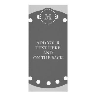 Gray White Stripes Pattern, Charcoal Monogram Rack Card Design